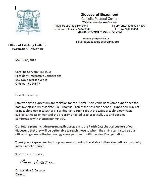 Endorsement Letter Lorraine DeLuca 2013